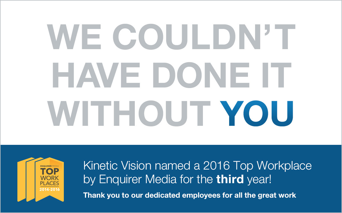 Kinetic Vision Voted a Top Workplace 2014-2016 image