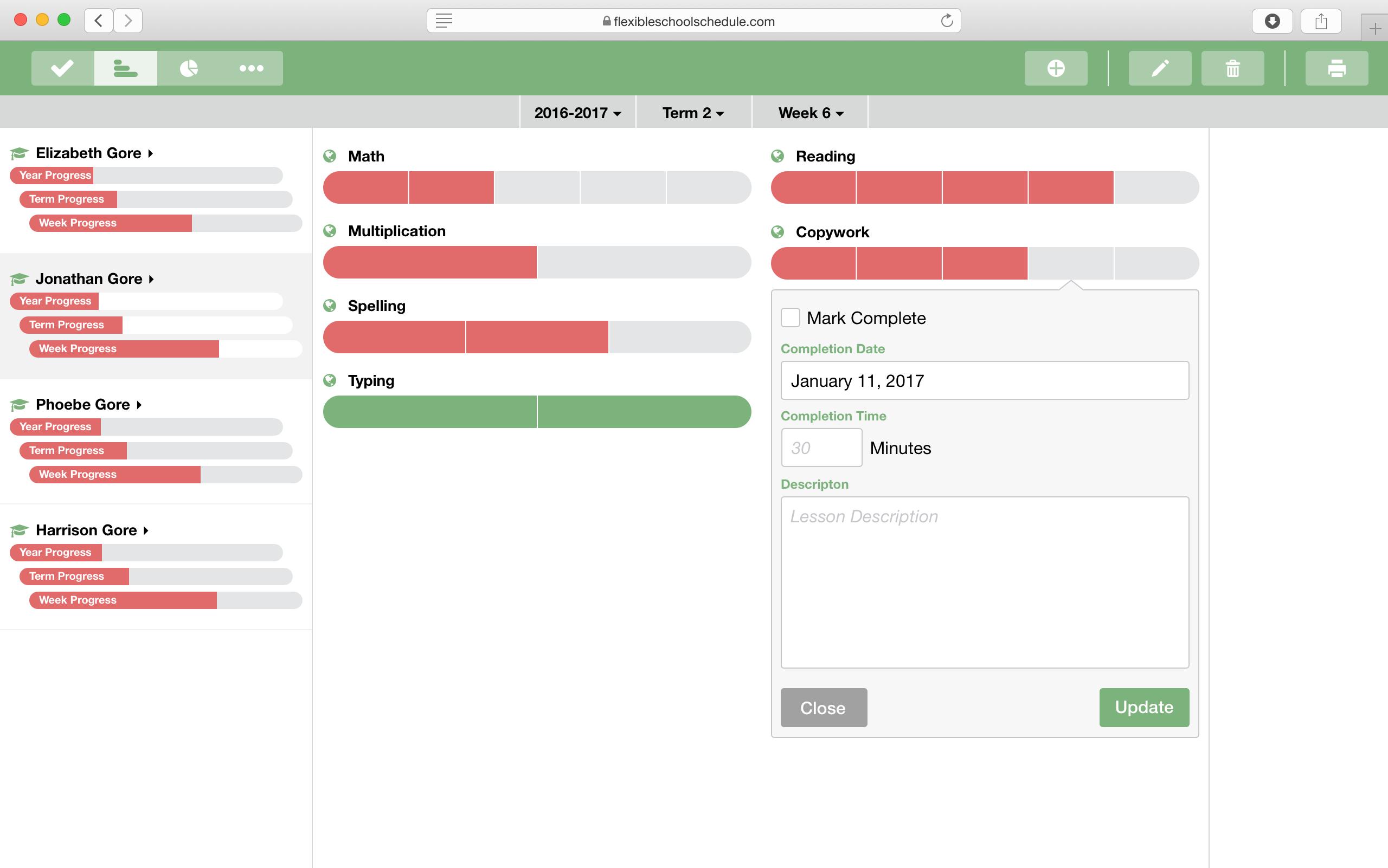 Flexible School Schedule Interface