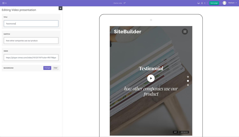 Screenshot of the SiteBuilder