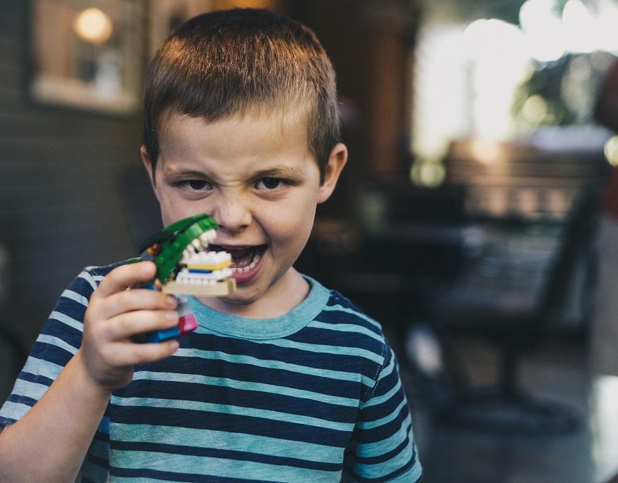 little boy with aligator toy